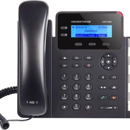 O GXP1628 traz um ambiente de chamada eficiente para qualquer desktop. Este telefone oferece uma interface fácil de usar e um design simples com sua tela LCD retroiluminada de 132x48, teclas de conta SIP / 2 linhas e 8 teclas LCD BLF / discagem rápida de duas cores. Também equipado com portas Gigabit duplas com PoE integrado, o GXP1628 foi construído para uma variedade de cenários de implantação. A personalização e a usabilidade adicionadas vêm com seu áudio HD integrado e 3 teclas programáveis XML.  Como todos os telefones Grandstream IP, o GXP1628 apresenta tecnologia de criptografia de segurança de última geração (SRTP e TLS). O GXP1628 suporta uma variedade de opções de provisionamento automatizado, incluindo configuração zero com PBXs IP da série UCM da Grandstream, arquivos XML criptografados e TR-069, para tornar a implantação em massa extremamente fácil.